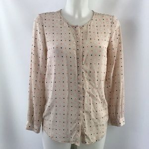 Joie Tan Print Long Sleeve Top Size Small